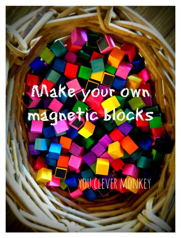 DIY Mini Magnetic Blocks - colour and make your own set of mini magnetic wooden blocks perfect for mosaic art and early maths | you clever monkey