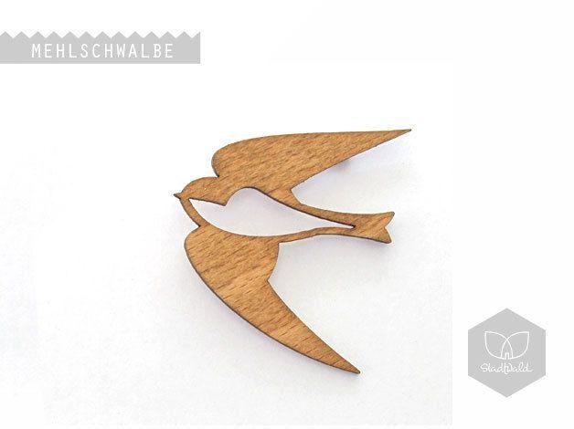 """Ansteckbroschen - Holzbrosche """"Mehlschwalbe"""" - ein Designerstück von stadtwald-1 bei DaWanda"""