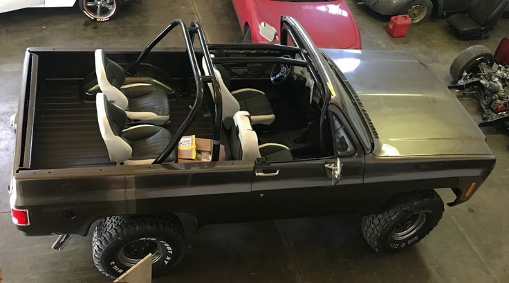 Aftermarket Chevy Truck Seats >> Aerial view of bucket seats and Rhino lining in my Blazer | Ford bronco, K5 blazer, Chevrolet blazer