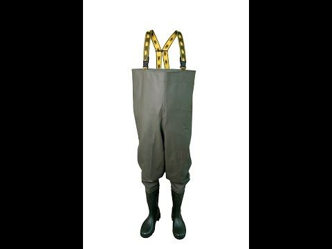 WATERPROOF PROTECTIVE CHEST WADERS The chest waders have been produced with high quality PVC boots welded in. The model has elasticated braces. The boots have been tested for slip resistance on ceramic floor with sodium lauryl sulphate solution (NaLS) and on steel floor with glycerol - protection type OB FO E SRC.  Chest waders have been made on waterproof strong fabric Plavitex Heavy Duty. It's a good protection against water. High frequency welding makes seams stronger.