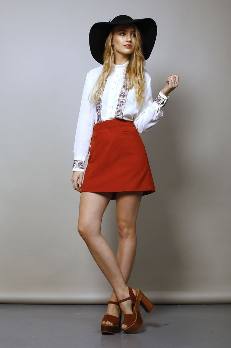 1970's A-Line leather skirt