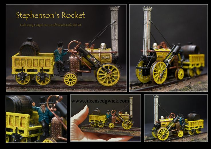I made up and painted this tiny kit of Stephenson's Rocket ...the train which developed out of the Loco 1 and won the Rainhill Trials
