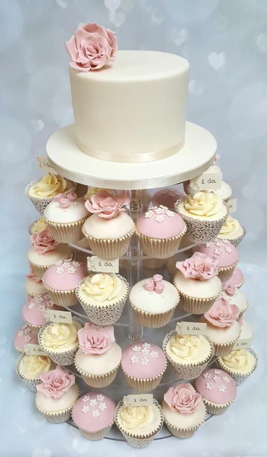 Wedding cupcake tower  by Vanilla Iced  - http://cakesdecor.com/cakes/278547-wedding-cupcake-tower