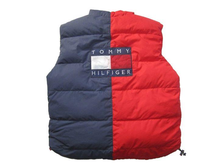 Vintage 90s Tommy Hilfiger Big Logo Spell Out Goose Down Puffer Vest  Flag Logo  2 Face Vest Bodywarmer  Color Block Red/Blue Jacket sz L by VapeoVintage on Etsy