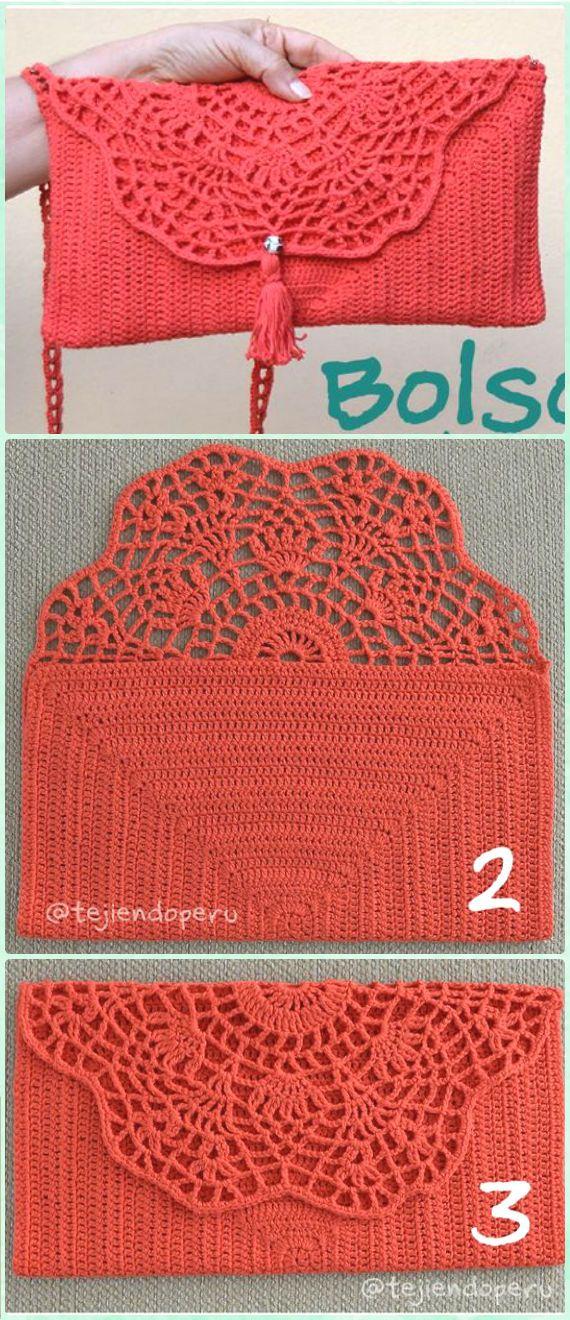 Crochet Pineapple Top Clutch Free Pattern Video - Crochet Clutch Bag & Purse Free Patterns