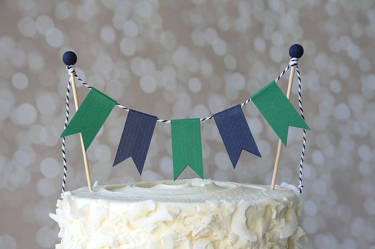 Preppy Nautical Navy Blue & Green Birthday Cake Bunting Pennant Flag Cake Topper-MANY Colors to Choose From!  Birthday, Shower Cake Topper by KissMeKateStudio on Etsy https://www.etsy.com/listing/189003188/preppy-nautical-navy-blue-green-birthday