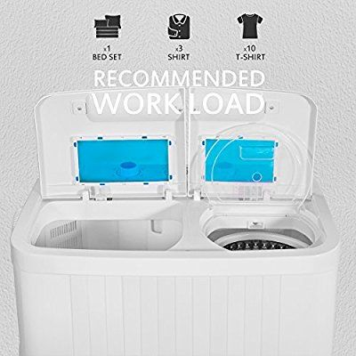 XtremePowerUS 99801 Portable Compact Washer Washing Machine With Built in Drain Pump & Spin Dry (White and Blue)