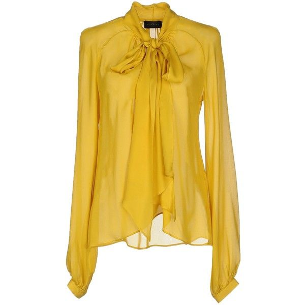 John Richmond Blouse ($520) ❤ liked on Polyvore featuring tops, blouses, yellow, long sleeve tops, yellow top, silk blouses, john richmond e beige silk blouse