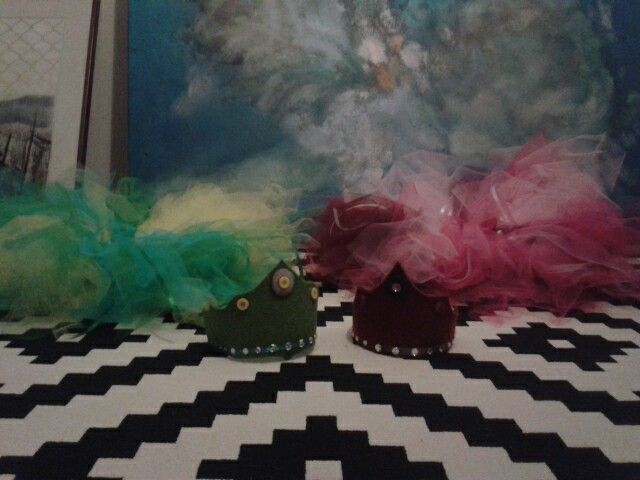 Felt crowns and tulle skirts for christmas.