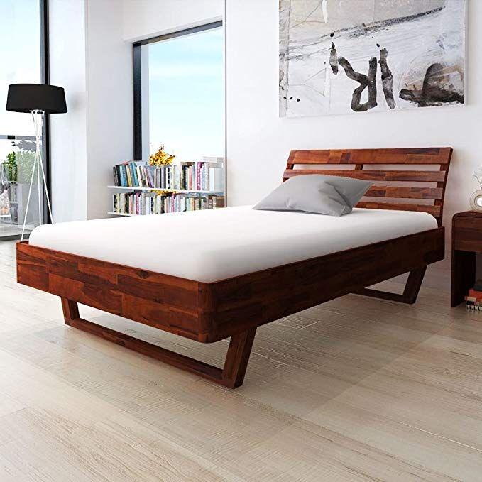 Festnight Wood Queen Platform Bed Frame Solid Acacia Wood Queen