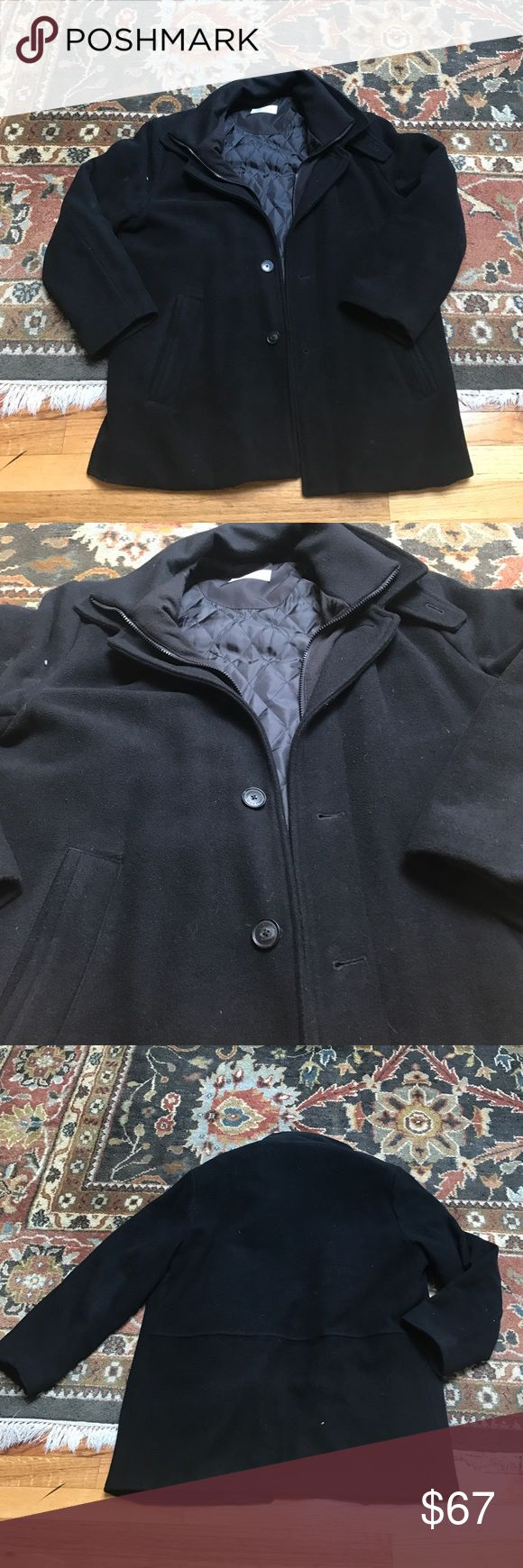 Calvin Klein Men's Peacoat Barely worn. Needs a good lint rolling from being in storage. Zips and buttons up the front. Satin lined. Heavy cotton collar. No good. Size 42S. Two inner pockets. Calvin Klein Jackets & Coats Pea Coats