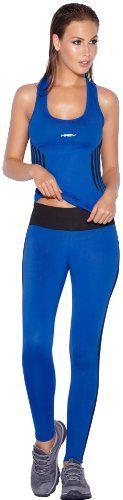 Haby Womens Yoga Wear Running Tank Top Leggings Blue Medium