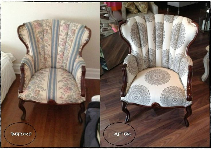 Before and after of a client's chair! Reupholstered in one of our favourite @Robert Goris Plumbing fabrics. #vintage #modern #reupholster
