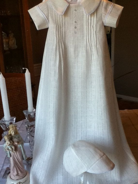 Handmade Ecru Linen Baby Boy Baptism Gown With By
