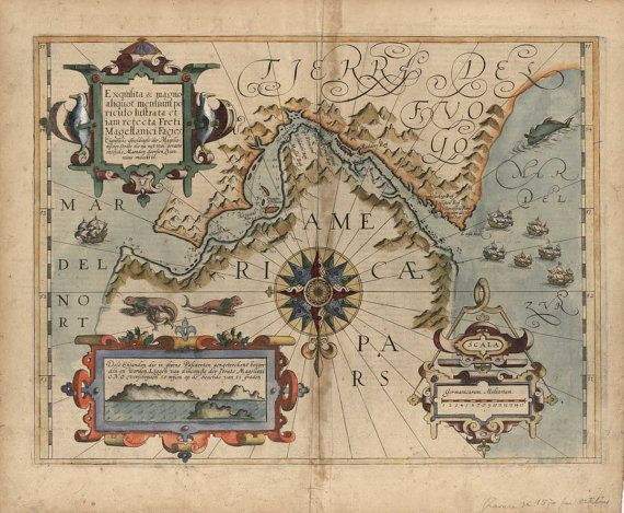 Tierra Del Fuego Argentina Chile Map 1611 (Straight of Magellan) on Etsy, $55.00