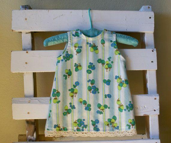 A-line Blue Green Vintage Toddler Dress Crochet Detail $40.00