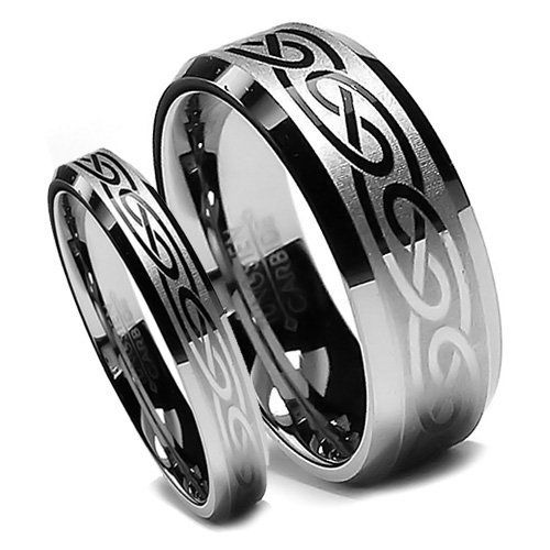 Top Value Jewelry Matching Tungsten Wedding Band Set His Her Laser Etched Celtic Design Rings High Polish Bevel Edge Men Size Women Half Sizes