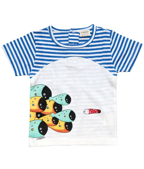 White and blue stripe short sleeve baby T shirt with school of fish print.  100% soft organic cotton. Includes packaging which makes this tee a great gift!  Unisex regular fit.  PIPI & PUPU kids(art)wear - Playful quality organic cotton for kids  Illustrators are our heart and soul!  A...