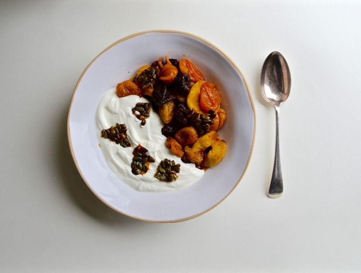 Stewed Fruit with Star Anise & Cinnamon Pumpkin Seed Brittle