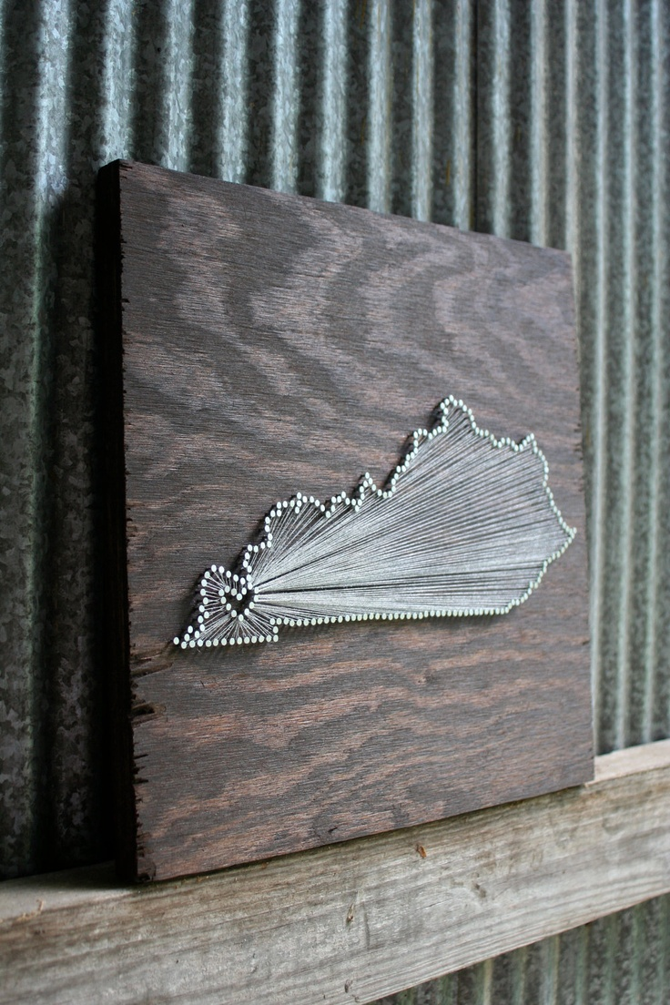 Kentucky Love // Reclaimed Wood Nail and String Art Tribute To the Bluegrass State. $110.00, via Etsy.