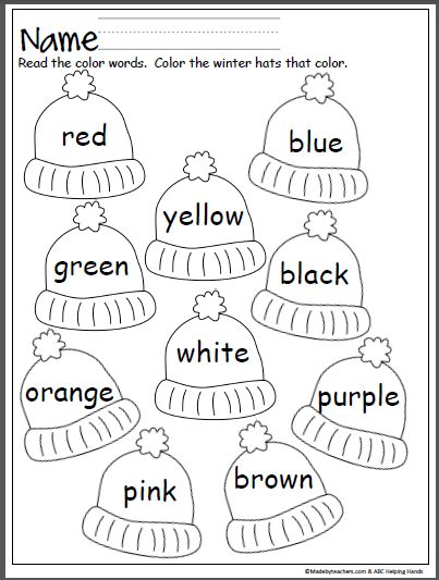 colorful winter hats literacy stuff preschool worksheets pre k worksheets kindergarten. Black Bedroom Furniture Sets. Home Design Ideas