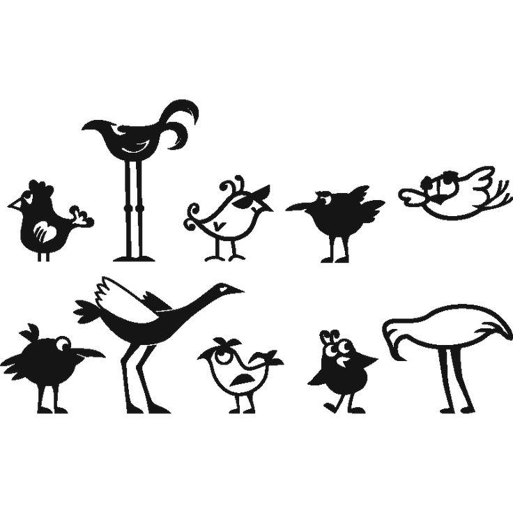Muurstickers babykamer - Muursticker grappige vogels | Ambiance-sticker.com