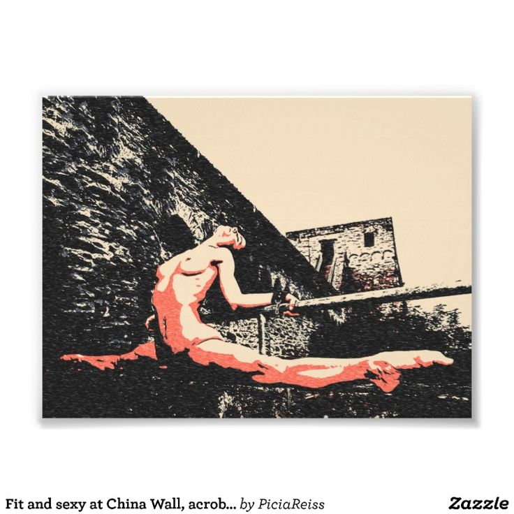 Fit and sexy at China Wall, acrobatic nude girl Art Photo