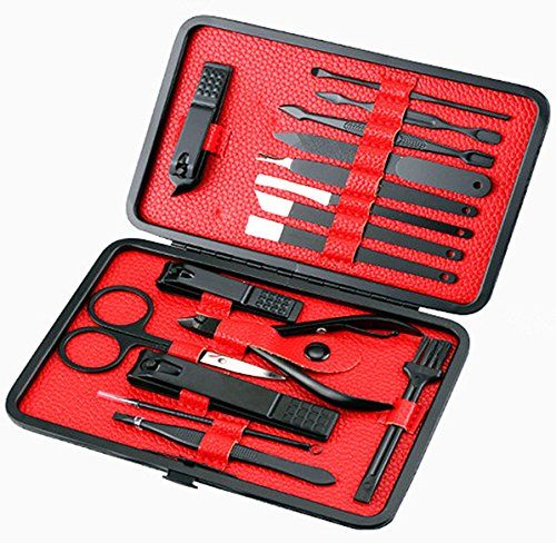 Cammyllc 16 In 1 Mens Grooming Kit Manicure Set Stainless Steel Professional Pedicure Kit Nail Scissors with Black Leather Travel Case (Black & Red). For product & price info go to:  https://beautyworld.today/products/cammyllc-16-in-1-mens-grooming-kit-manicure-set-stainless-steel-professional-pedicure-kit-nail-scissors-with-black-leather-travel-case-black-red/