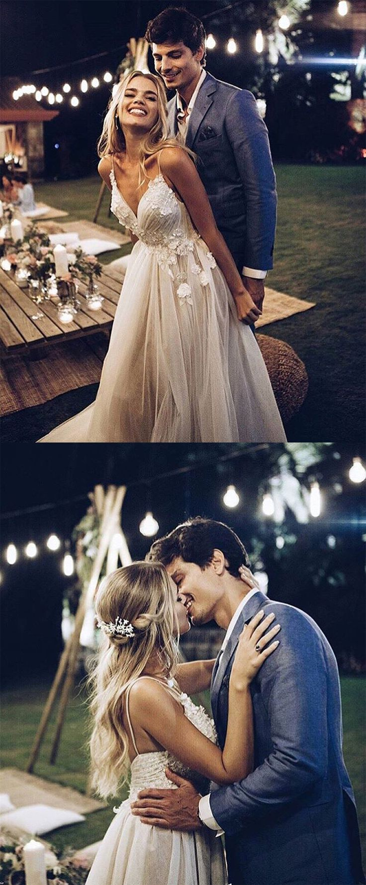 Princess White Tulle Wedding Dresses with Appliques, Spaghetti Straps Beach ...
