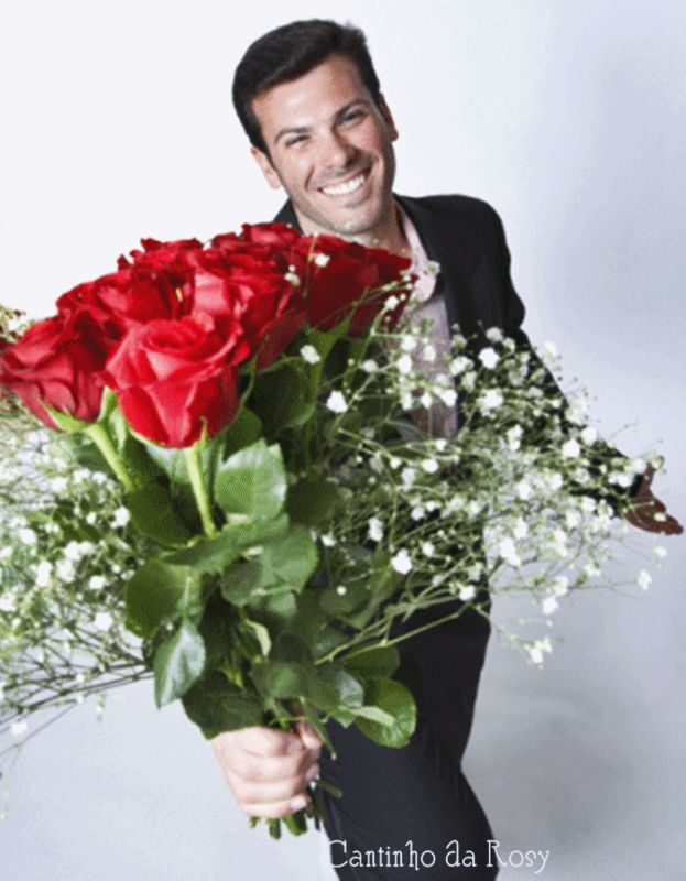 Открытки мужчина с цветами
