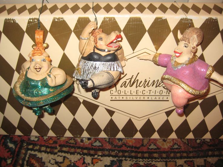 Wayne Kleski for Katherine`s Collection trio of chubby lady dancing animals.  Whimsy, whimsy and you choose your celeb girlie.
