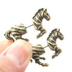 Zebra Horse Animal Shaped Fake Gauge Plugs Stud Earrings in Brass $11.50 #zebras #animals #jewelry #earrings #cute