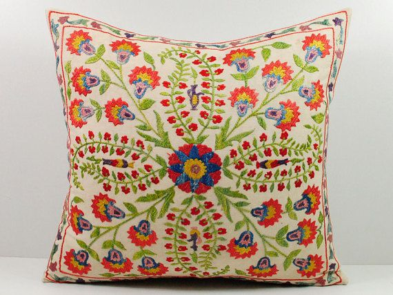 Vintage Hand Embroidered Uzbek Suzani Pillow MSP6-14 by islimi
