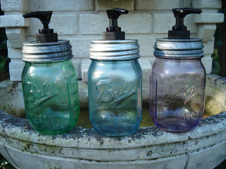 Make a soap dispenser out of your mason jar by drilling a hole on the lid and inserting and glueing the top of an old soap bottle to the hole.  Source: Etsy user bittersweetlemonade