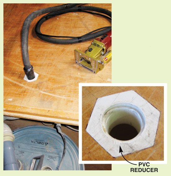 Dust Collection Tips Practical solutions for a cleaner shop.   Vacuum-Assisted Bench I got tired of hooking my bench tools to my shop vacuum. Now I simply plug their dust collection hoses into the bench. I drilled and routed a hole in the bench to house the 2-1/2-in. PVC pipe and hexagonal 2-1/2-in.-to-1-1/4-in. reducer that I bought at a home center. My shop vacuum's hose fits the pipe underneath the …