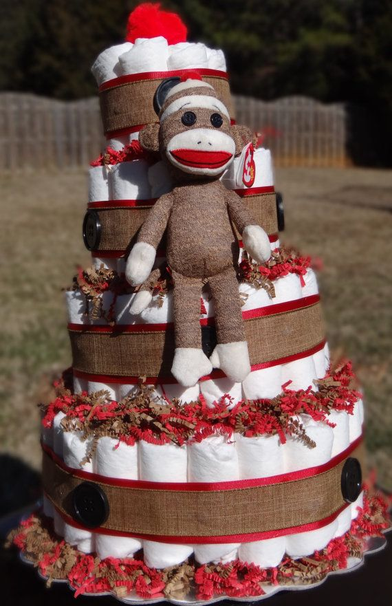 4 Tier Sock Monkey Cake by AlleyOpps on Etsy, $100.00 could make on your own for cheaper