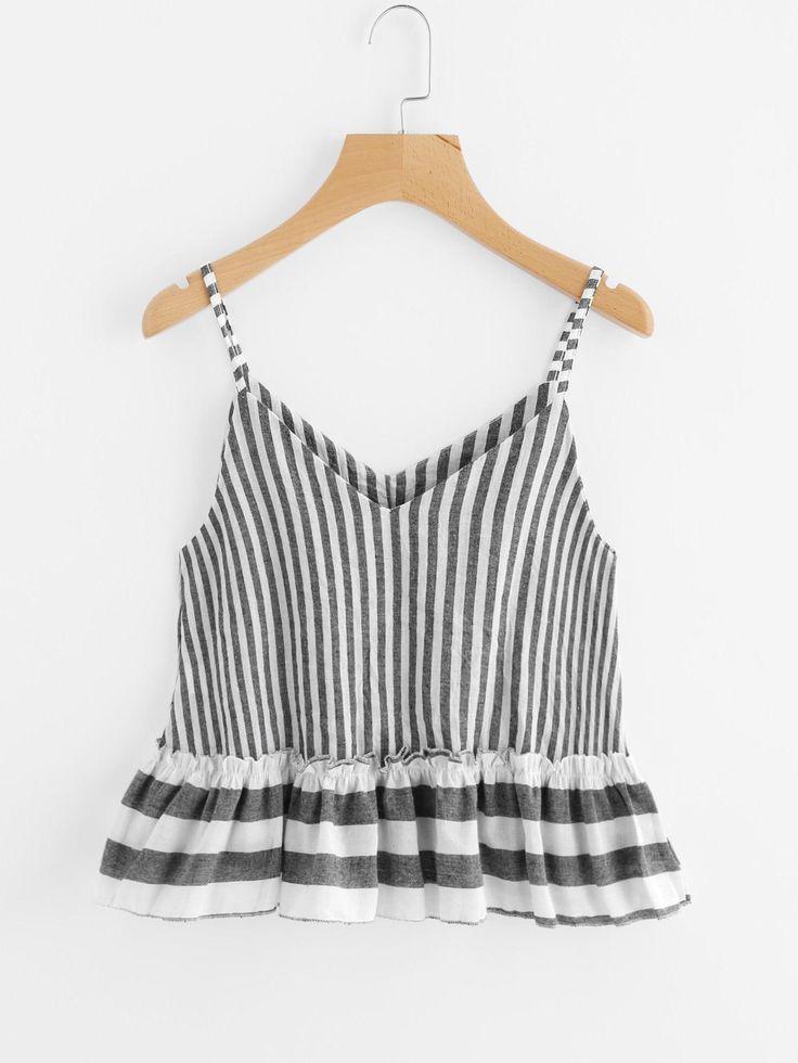 SheIn - SheIn Contrast Striped Frill Hem Cami Top - AdoreWe.com