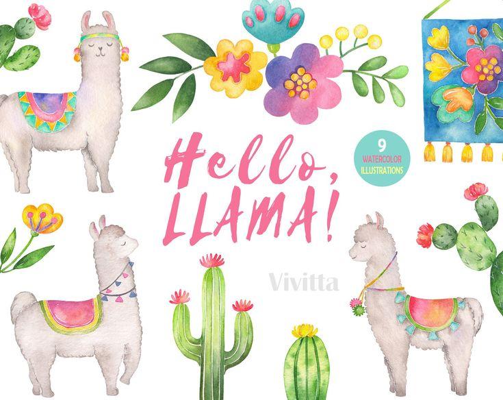 Llama Watercolor Clipart Set Hello Lama Watercolor Cactus Etsy In 2021 Watercolor Clipart Clip Art Watercolor Cactus