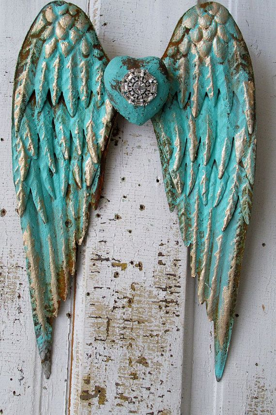Metal angel wings distressed aqua Caribbean by AnitaSperoDesign