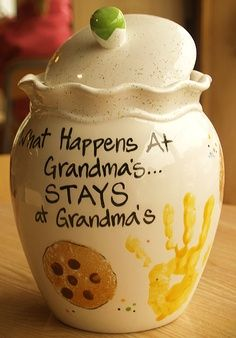 """Mother's day gift for my mom Handprint Pottery Ideas   ... happens at Grandma's, stays at Grandma's"""" #cookie_jar . #handprint_art"""