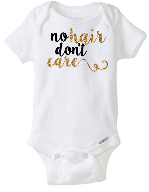Baby Girl Onesie No hair don't care Personalized by CassidyCloset