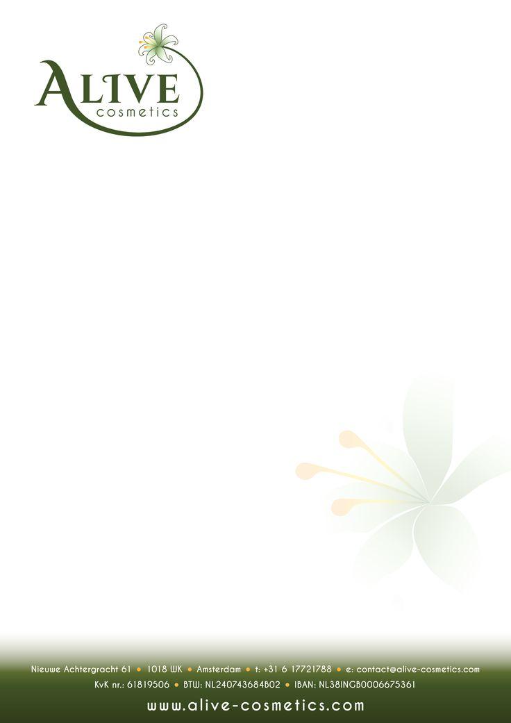 Letterhead for A-live Cosmetics