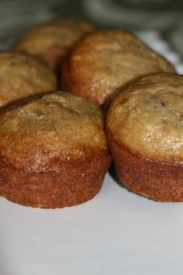 Perfect Banana Muffins-made with whole wheat flour, no white sugar and about 1/4 cup of honey, Greek yogurt instead of butter and a little extra milk and vanilla. They are moist and delicious!
