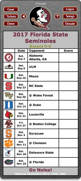 Florida State | 2017 Football Schedule