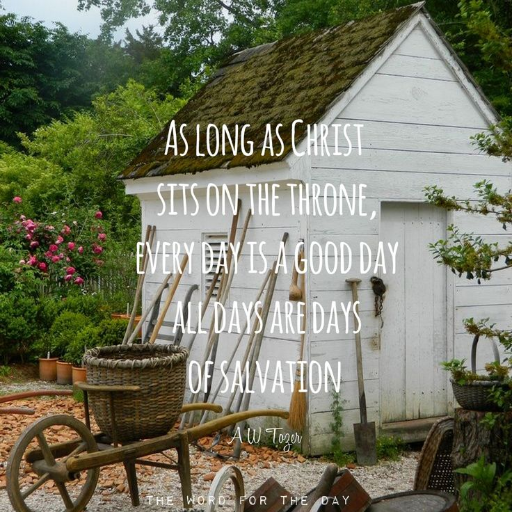 As long as Christ sits on the throne, every day is a good day, all days are days of salvation. - AW Tozer