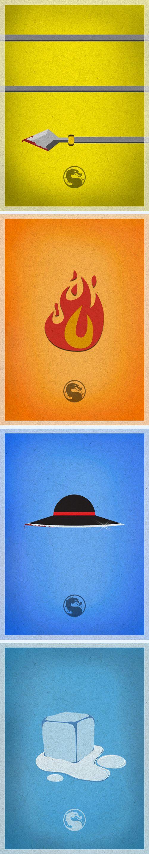 Mortal Kombat Minimalistic Posters. Scorpion, Liu Kang, Kung Lao and Sub-Zero. Weekly at my Tumblr. http://caiolabueno.tumblr.com/