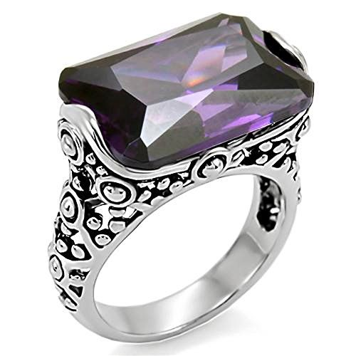 28 Ct Emerald Cut Amethyst CZ Antique Celtic Style Stainless Steel Ring Size 7. Stainless Steel Tusk 316. AAA Grade Cubic Zirconia. Total Carat Weight: 28 Ct (approx). Stone Cut: Emerald. Gift Box Included for giving or storage.