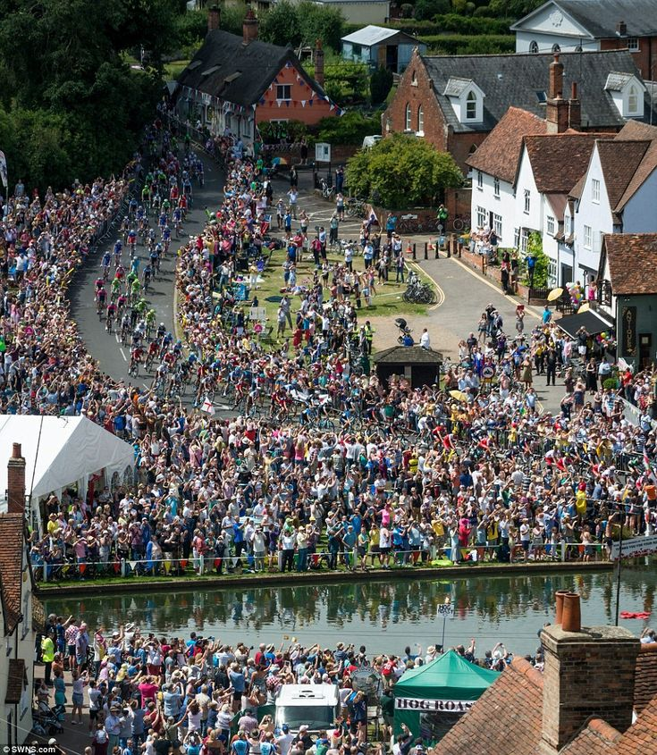 The Tour de France goes through the picturesque village of Finchingfield, near Braintree in Essex