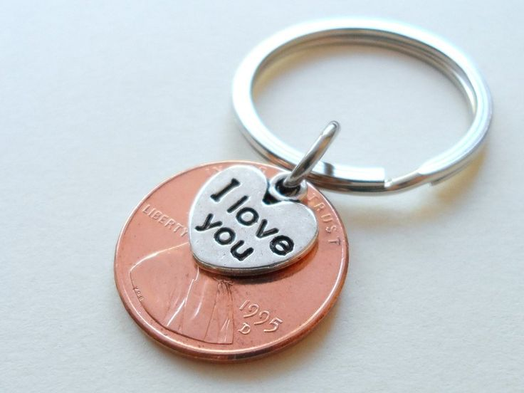 I Love You Heart Charm Layered Over 1995 Penny Keychain, 21 Year Anniversary Gift, Couples Keychain