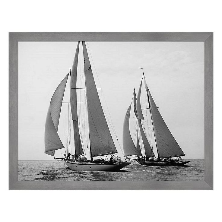 Metaverse Art Sailboats Race During Yacht Club Cruise Framed Canvas Wall Art, Multicolor